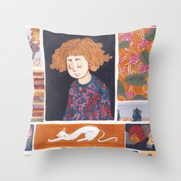 Childhood Collage Throw Pillow