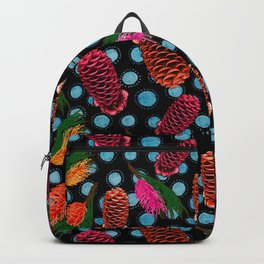 Beautiful Australian Native Flowers - Beehive Ginger and Grevillea Backpack