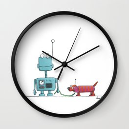 The robot and the dog Wall Clock