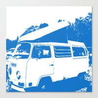 volkswagon Canvas Prints featuring Stellar Ride into the Blue by Dawn Marie