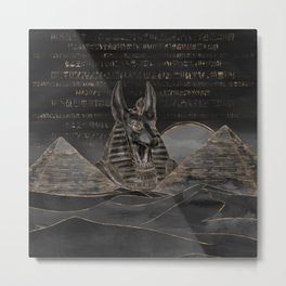 Anubis on Egyptian pyramids landscape Metal Print