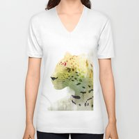leopard V-neck T-shirts featuring Leopard by EtOfficina