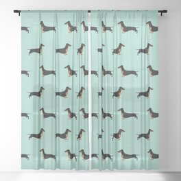 Black and Tan Dachshund Sausage Dog on Mint Green Background Pattern for Dog Lover Doxie Sheer Curtain