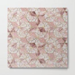 Modern rose gold geometric star flower pattern Metal Print