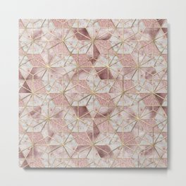 Modern rose gold geometric star flower pattern Metal Print