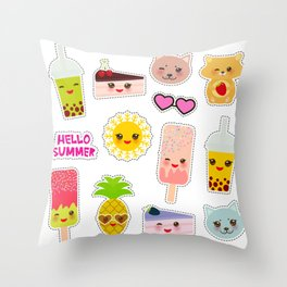 Hello Summer. Pineapple, cherry smoothie cup, ice cream, sun, cat, cake, hamster. Kawaii cute face. Throw Pillow
