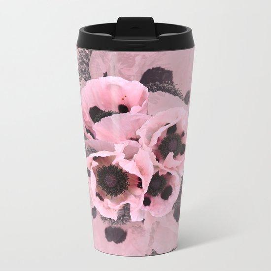 Poppies in the pink Metal Travel Mug