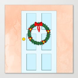 Traditional Christmas wreath on an old fashioned door Canvas Print