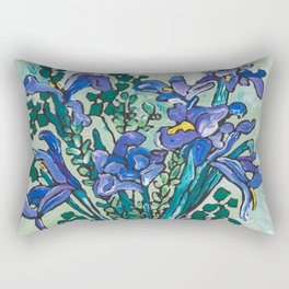 Iris Bouquet in Blue and White Asian Tiger Jar on Green and Coral Rectangular Pillow