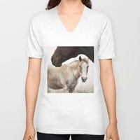 horses V-neck T-shirts featuring Horses by Ash W