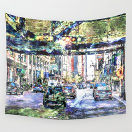 Scenes In The City Wall Tapestry
