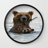 bears Wall Clocks featuring BEARS!!! by Donutwrangler