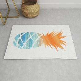 Tropical Aqua + Orange Watercolor Pineapple Rug
