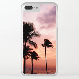 Palm Tree Sunset Clear iPhone Case