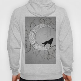 Moon mandala design with wolf Hoody