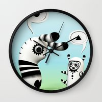 lama Wall Clocks featuring Lally Lama by Teodoru Badiu