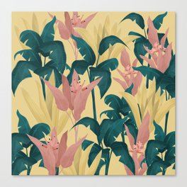 Tropical Plants Yellow Background Canvas Print