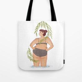 Summer vibes under green leaves illustration Tote Bag