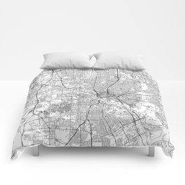 Dallas White Map Comforters