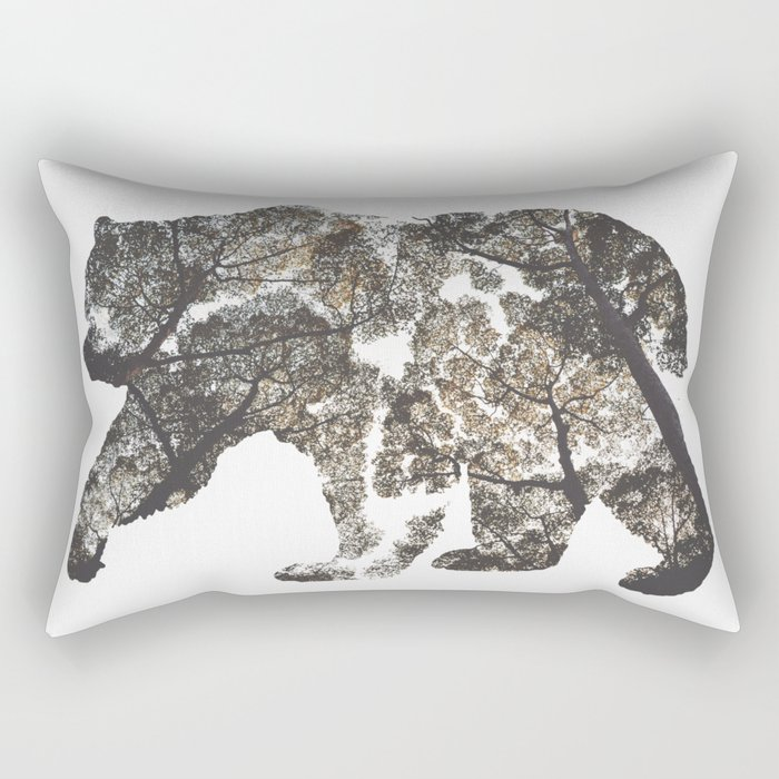 Bear Silhouette With Trees Rectangular Pillow