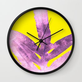 Green Fern on Bright Yellow Inverted Wall Clock