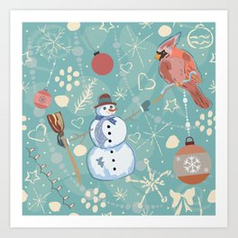 Seamless Winter Pattern with Christmas Ornaments Art Print