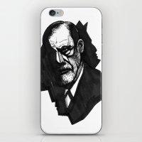 freud iPhone & iPod Skins featuring Sigmund Freud by Chuchuligoff