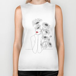 Minimal Line Art Girl with Sunflowers Biker Tank