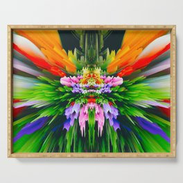 abstract glitch colorful flower Serving Tray