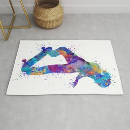 Girl Skateboard Colorful Watercolor Sports Art Rug
