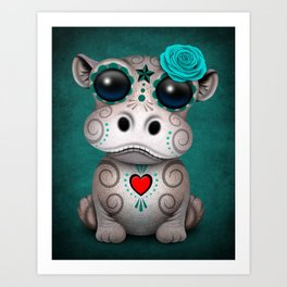 Blue Day of the Dead Sugar Skull Hippo Baby Art Print