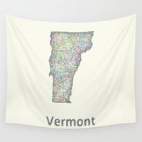 vermont Wall Tapestries featuring Vermont map by David Zydd