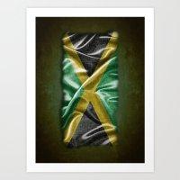jamaica Art Prints featuring Jamaica flag by DesignAstur