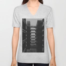 GRAYSCALE PHOTOGRAPHY OF NETWORK CABINETS Unisex V-Neck