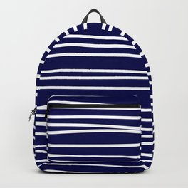 Navy Blue & White Maritime Hand Drawn Stripes- Mix & Match with Simplicity of Life Backpack