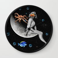 mermaid Wall Clocks featuring Mermaid by Cs025