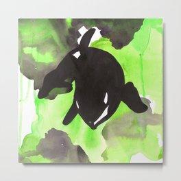 Diving Orca - Light Green Metal Print
