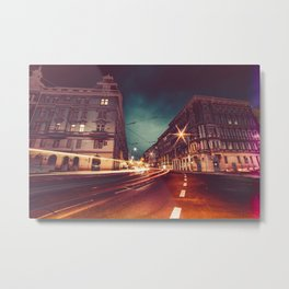 Prague Streets at Night Metal Print