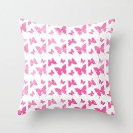Vintage cute pink watercolor butterflies pattern Throw Pillow