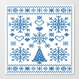 Christmas Cross Stitch Embroidery Sampler Teal And White Canvas Print