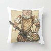 banjo Throw Pillows featuring Banjo Cat by Felis Simha