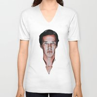 benedict V-neck T-shirts featuring Benedict Cumberbatch  by Cécile Pellerin