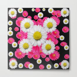 Festive Pink Gerbera & White Daisy Flowers Black Patterns Art Metal Print