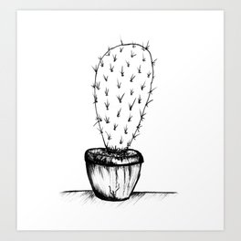 prickly black and white cactus Art Print
