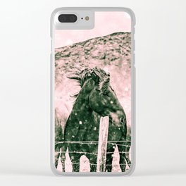 Southwest Horses Black and White Clear iPhone Case