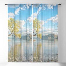 Lonely Tree In Lake Wanaka New Zealand Ultra HD Sheer Curtain