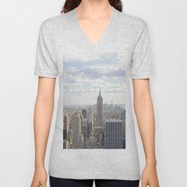 Manhattan skyline view Unisex V-Neck