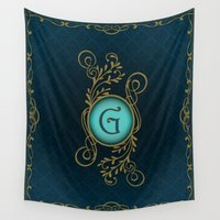 letter Wall Tapestries featuring Letter G by Britta Glodde