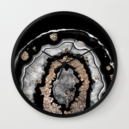 Gray Black White Agate with Gold Glitter on Black #1 #gem #decor #art #society6 Wall Clock