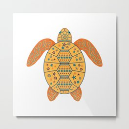 Sea Turtle - Gold and Blue Metal Print